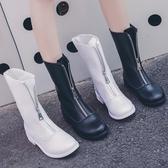 英倫風馬丁靴女新款秋季復古guidi短靴前拉鏈倒靴百搭機車靴