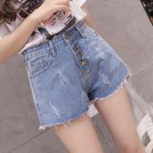 VK精品服飾 韓國風單排扣抓紋牛仔百搭高腰熱褲短褲
