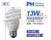 PHILIPS飛利浦 13W 110V 827 2700K 黃光 麗晶 省電螺旋燈管_ PH160024
