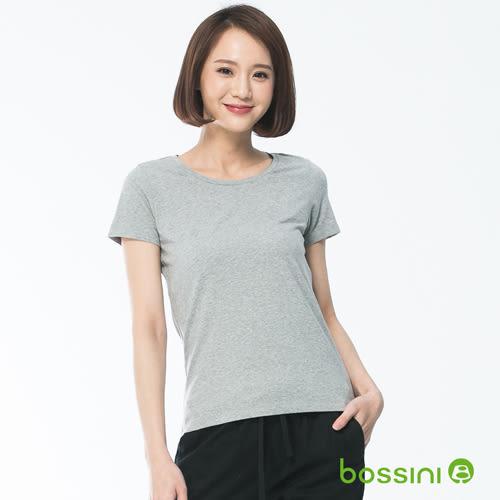 素面彈性圓領T恤01淺灰-bossini女裝