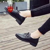 小皮鞋娃娃鞋韓版平底跟黑色小皮鞋女工作職業正裝繫帶休閒學生單鞋女鞋  凱斯盾數位3C