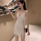 夜店洋裝 夏天夜店女裝蕾絲開叉吊帶性感連身裙內搭女人味打底裙-Ballet朵朵