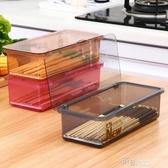 家用餐具收納盒筷子瀝水架廚房廚具塑料帶蓋防塵隔水籠叉子勺子籠  【快速出貨】