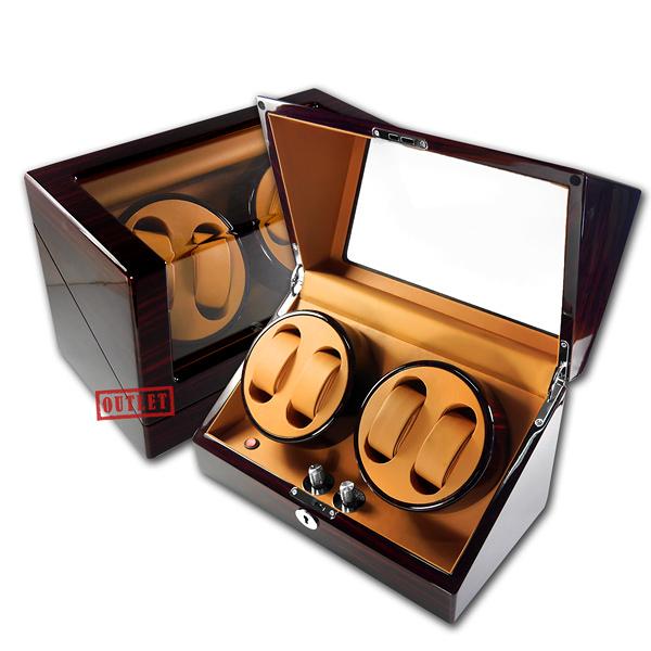 展示福利品9折↘ 機械錶收藏盒 2旋4入錶座轉動 LED燈 鋼琴烤漆 - 黃棕x木紋紅褐 #BW4+0-L-EBYB-defect