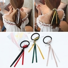 【NiNi Me】韓系髮飾 氣質甜美浪漫雙色緞帶飄逸珍珠吊飾髮束 髮束 H9387