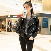 皮衣外套-大翻領寬鬆純色短款女夾克73on50【巴黎精品】