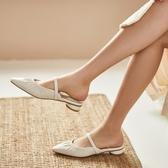 手工真皮女鞋34~40 2020新款羊皮拉縐穆勒鞋半拖鞋鞋 ~2色