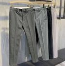 韓版雙皮扣設計 小西褲 男士復古長褲 修身 垂感 休閒褲 自由角落
