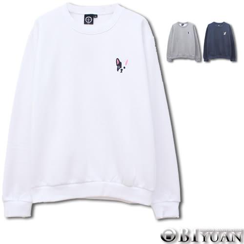 重磅刷毛大學T【JG6856】OBI YUAN韓版法鬥犬電繡長袖上衣 共3色