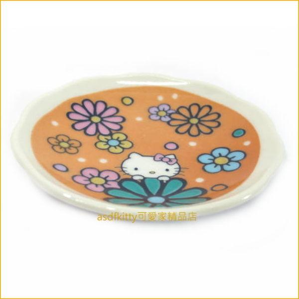 asdfkitty☆KITTY九谷燒花園版陶瓷醬料碟/小碟子/點心皿/茶包盤-也可當筷架-裝醬料.胡椒鹽-日本製