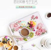 托盤家用長方形歐式托盤水杯子茶盤創意密胺餐具盤塑料水果蛋糕盤 曼莎時尚
