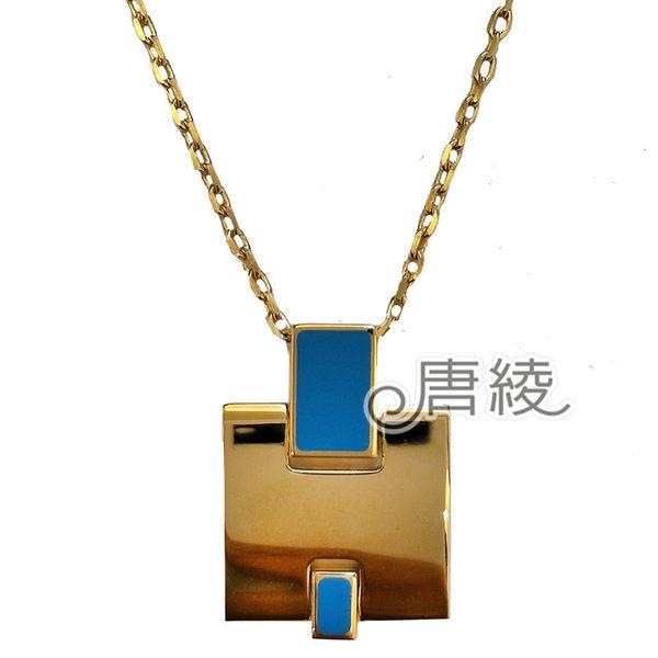 【Hermes 愛馬仕】Eileen 經典立體H LOGO項鍊(淺藍X金H146201FO)