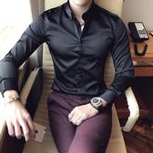 2019春夏季免燙抗皺刺繡長袖襯衫男青年英倫時尚帥氣冰絲休閒襯衣