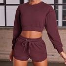 瑜珈服套裝(兩件套)-長袖上衣抽帶短褲女運動服6色73zk21【時尚巴黎】
