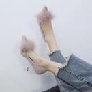 高跟鞋 高跟鞋女新款夏季韓版百搭黑色尖頭淺口細跟時尚性感網紅單鞋 交換禮物