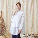 【Tiara Tiara】激安 假兩件式拼接風襯衫長版上衣(白)