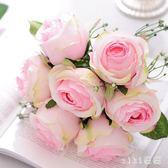 VIKI-仿真花假花玫瑰花客廳擺設把花花束餐桌擺件裝飾花結婚新娘手捧花 nm4200 【VIKI菈菈】