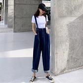 VK精品服飾 韓國風個性休閒寬口褲高腰復古牛仔單品吊帶長褲