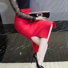 包臀半身裙女2020新款修身顯瘦春夏彈力大碼裙中長款開叉一步裙子 快速出貨