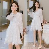 降價兩天 早秋雪紡連衣裙子 女裝秋裝2020年新款小個子V領超仙時尚氣質裙子