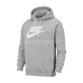 Nike 長袖T恤 NSW Club Fleece Pullover Hoodie 灰 白 男款 帽T 運動休閒 【ACS】 BV2974-063