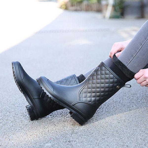 【913】格紋風休閒女士膠鞋 防滑中筒雨鞋