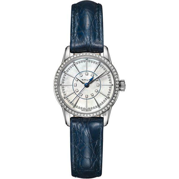 Hamilton 漢米爾頓 RAILROAD 美國經典鐵路優雅女錶-珍珠貝x藍/28mm H40391691