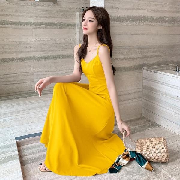 雪紡洋裝 韓版修身吊帶洋裝女性感露背沙灘裙氣質女神范雪紡過膝淡黃長裙 雙十二全館免運