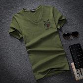 夏季男士加肥加大碼純棉V領胖子肥佬潮牌青少年T恤短袖寬鬆T恤衫  酷男精品館