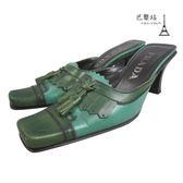 【巴黎站二手名牌專賣店】*現貨*PRADA 真品* Vintage 綠色流蘇牛皮跟鞋 (34.5號)
