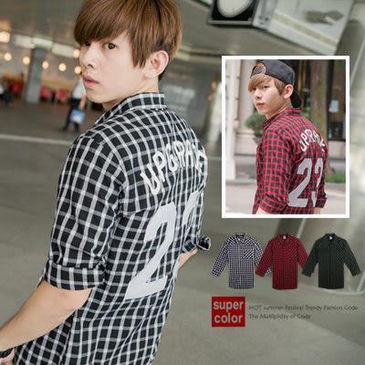 柒零年代【N8692J】韓版潮流UPGRADE漆皮23號方格七分袖襯衫(SH6092)Freely