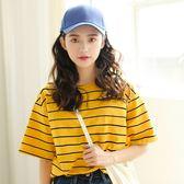 短袖T恤女條紋夏季韓版學生百搭寬鬆chic半袖上衣服