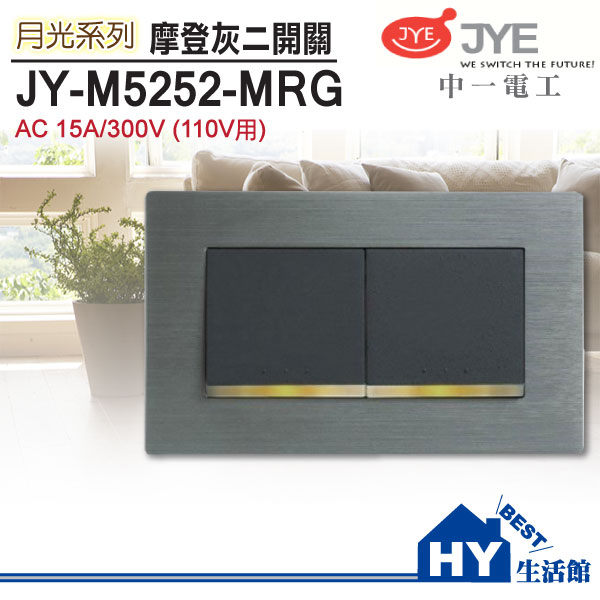 JONYEI 中一電工 JY-M5252-MRG 鋁合金雙開關(灰框架面板)(110V)《HY生活館》