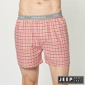 【JEEP】五片式剪裁 純棉平口褲 (橘紅格紋)