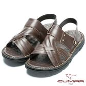 CUMAR 舒適真皮‧兩穿式舒適皮涼鞋-咖啡色