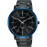 ALBA雅柏 東京情人時尚手錶-鍍黑x藍框/44mm VJ21-X118B(AH8483X1)
