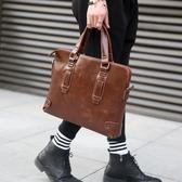 復古新款  韓版男包 商務休閒包男士手提包單肩包斜挎包公文包男