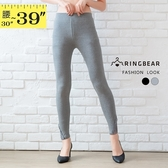 棉褲--時尚蕾絲拼接鬆緊帶彈力修身顯瘦素色小腳內搭長褲(黑.灰XL-3L)-R231眼圈熊中大尺碼