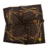 FENDI雙F鍊帶裝飾文字圖紋純棉帕巾(黑色)989006-20