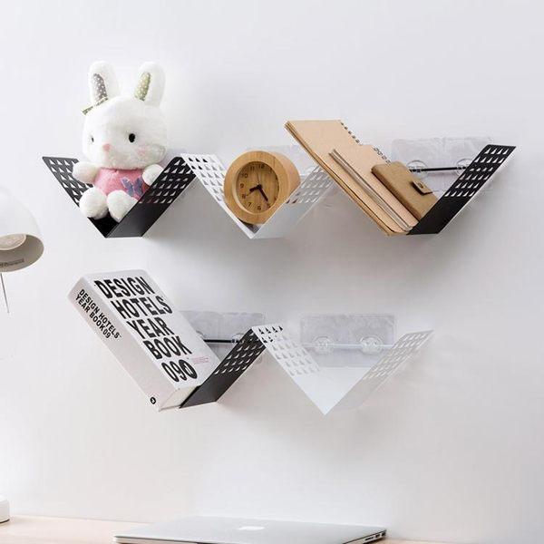 鐵藝墻上置物架客廳無痕貼整理架 臥室免打孔裝飾架宿舍壁掛書架