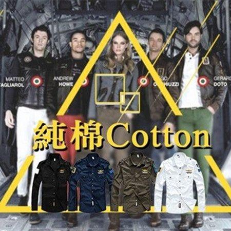 純棉空軍一號老鷹刺繡軍裝襯衫 MA1勳章男長袖襯衫 3色 L-4XL碼【CW434213】