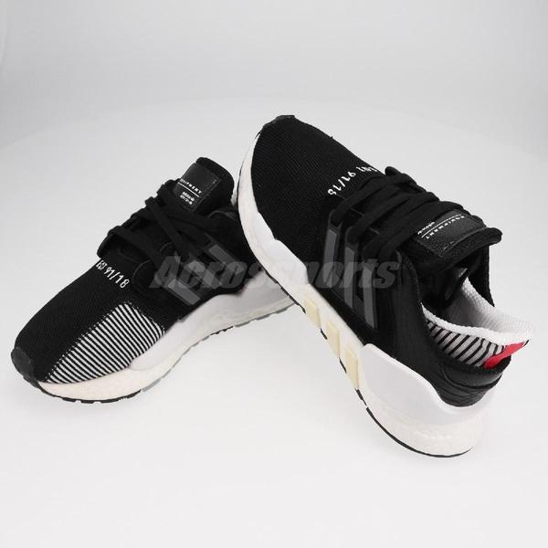 【US6-NG出清】adidas 復古慢跑鞋 EQT Equipment Support 91/18 W 黑 白 運動鞋 鞋帶破損 女鞋【PUMP306】