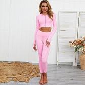 瑜珈服套裝(兩件套)-短版外套緊身瑜珈褲女運動服2色73zk12【時尚巴黎】