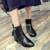 短靴中跟馬丁靴百搭英倫風粗跟單鞋【大小姐韓風館】