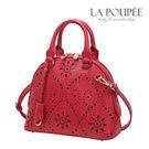 手提包 鏤空雕花獨特花朵圖騰小貝殼包 西班牙紅-La Poupee樂芙比質感包飾  (現貨)