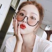 韓國原宿網紅同款復古圓框太陽眼鏡女金屬半框圓臉茶色大框墨鏡男   良品鋪子