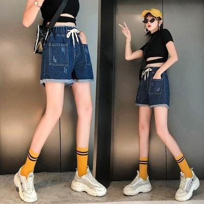 牛仔短褲女高腰松緊百搭毛邊熱褲大碼女裝200斤5854F1039依佳衣
