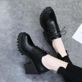 鞋子女2019秋冬新款英倫風復古百搭粗跟厚底增高系帶馬丁靴短靴女
