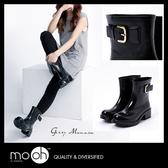 雨鞋雨靴 短筒雨鞋 簡約時尚 歐美素面搭扣粗跟圓頭雨鞋 mo.oh (歐美鞋款)