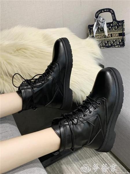短靴 網紅厚底馬丁靴女2021夏新款英倫風ins潮瘦瘦靴復古黑色機車短靴 夢藝